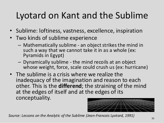 Lyotard on Kant and the Sublime• Sublime: loftiness, vastness, excellence, inspiration• Two kinds of sublime experience   ...