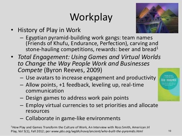 Workplay• History of Play in Work      – Egyptian pyramid-building work gangs: team names        (Friends of Khufu, Endura...