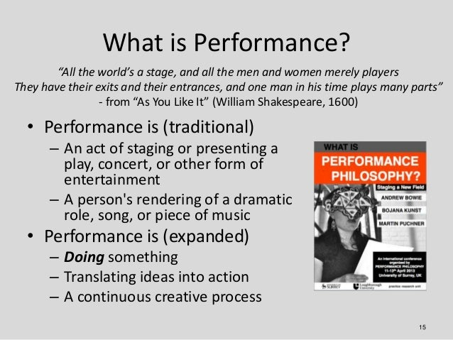 """What is Performance?        """"All the world's a stage, and all the men and women merely playersThey have their exits and th..."""