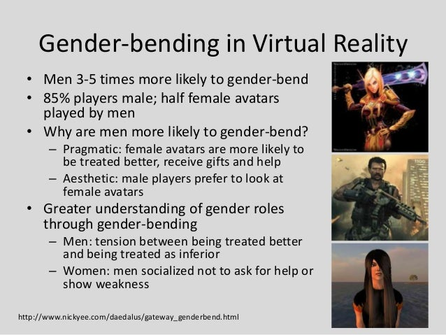 Gender-bending in Virtual Reality  • Men 3-5 times more likely to gender-bend  • 85% players male; half female avatars    ...