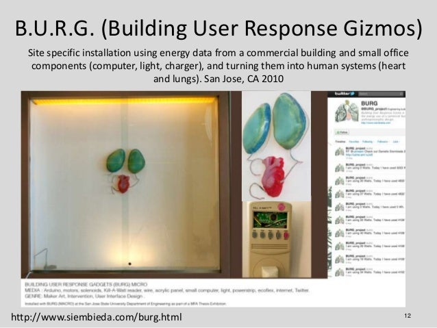B.U.R.G. (Building User Response Gizmos)   Site specific installation using energy data from a commercial building and sma...