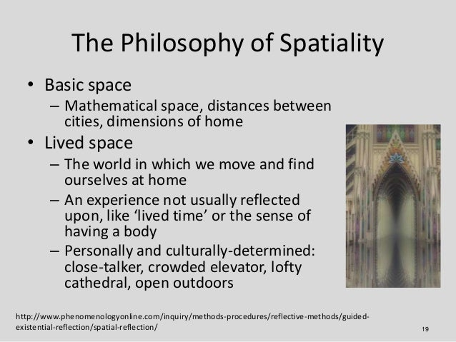 The Philosophy of Spatiality  • Basic space        – Mathematical space, distances between          cities, dimensions of ...