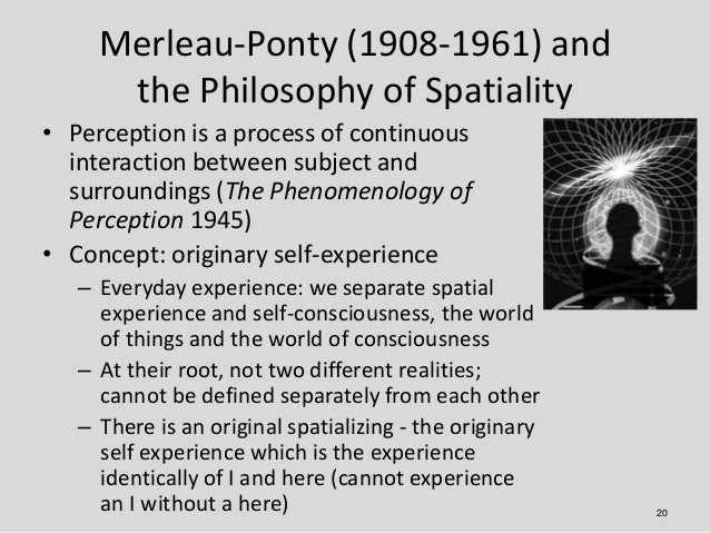 Merleau-Ponty (1908-1961) and      the Philosophy of Spatiality• Perception is a process of continuous  interaction betwee...