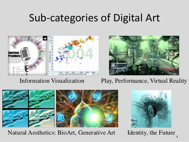 Sub-categories of Digital Art    Information Visualization       Play, Performance, Virtual RealityNatural Aesthetics: Bio...