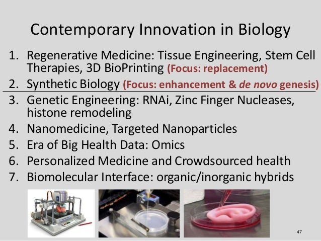 Contemporary Innovation in Biology1. Regenerative Medicine: Tissue Engineering, Stem Cell   Therapies, 3D BioPrinting (Foc...