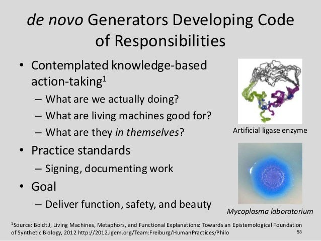 de novo Generators Developing Code              of Responsibilities   • Contemplated knowledge-based     action-taking1   ...
