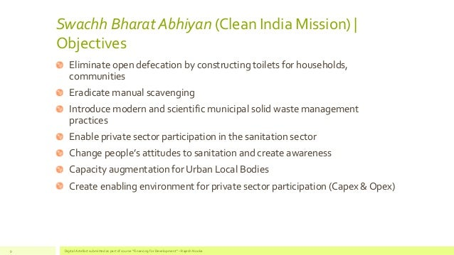 Objectives of the Swachh India Mission