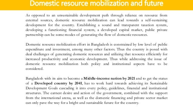 Domestic resource mobilization ...