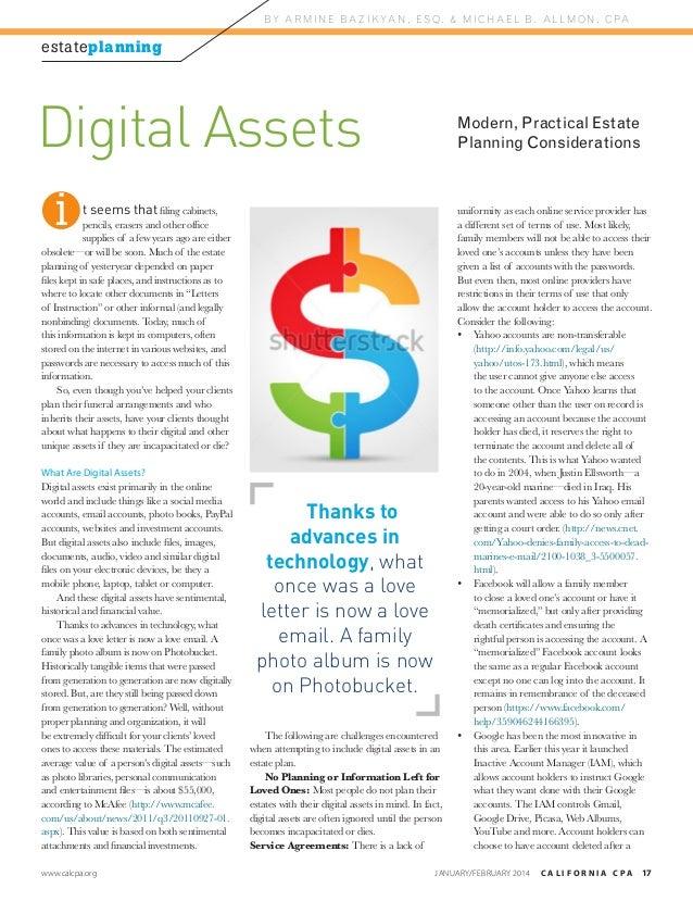 B Y A R M I N E B A Z I K YA N , E S Q . & M I C H A E L B . A L L M O N , C PA  estateplanning  Digital Assets i  Modern,...