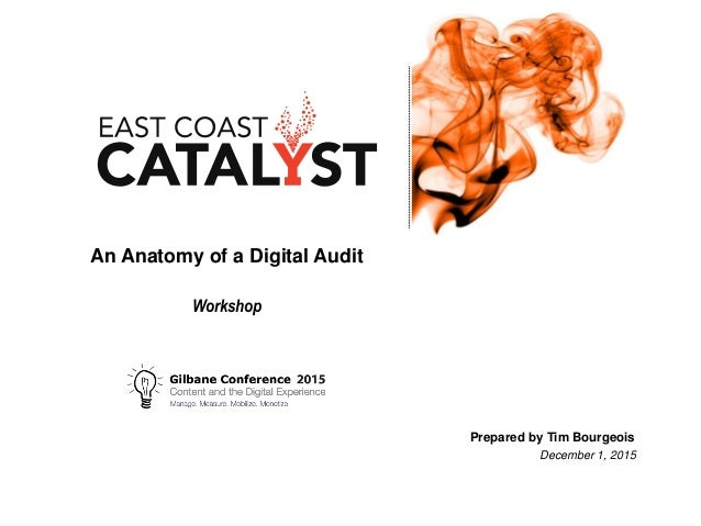 An Anatomy of a Digital Audit Workshop Prepared by Tim Bourgeois December 1, 2015