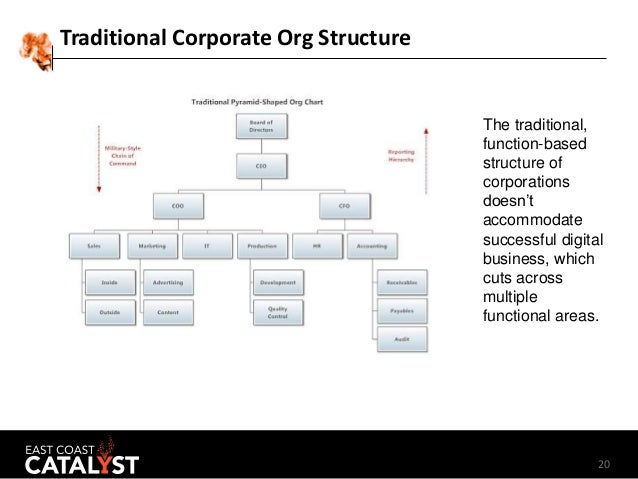 20 Traditional Corporate Org Structure The traditional, function-based structure of corporations doesn't accommodate succe...