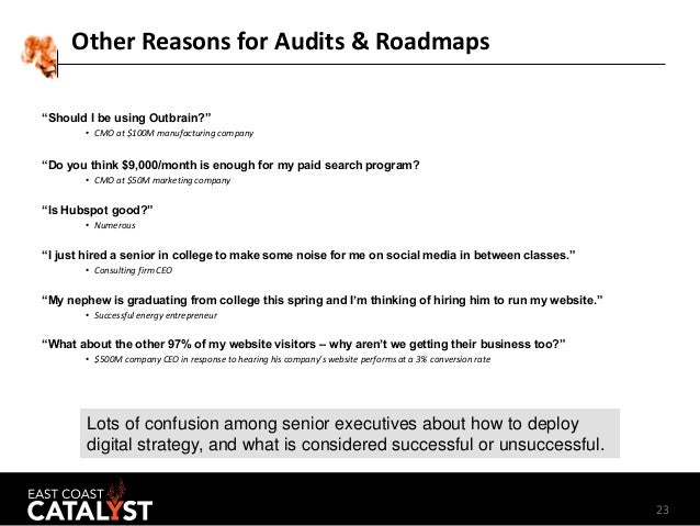 """23 Other Reasons for Audits & Roadmaps """"Should I be using Outbrain?"""" • CMO at $100M manufacturing company """"Do you think $9..."""
