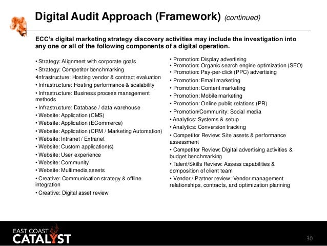 30 Digital Audit Approach (Framework) (continued) • Strategy: Alignment with corporate goals • Strategy: Competitor benchm...
