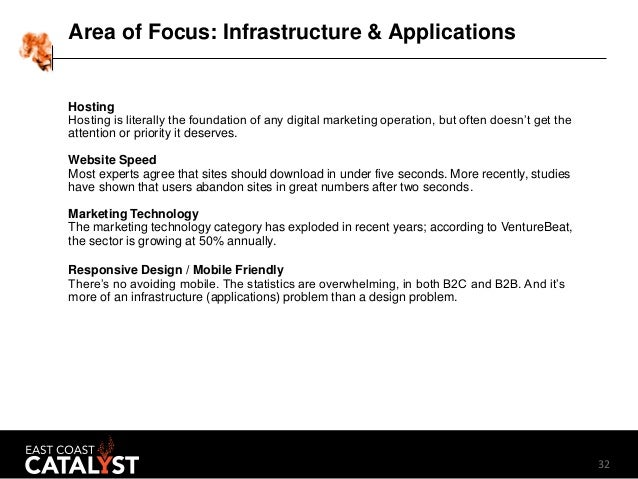 32 Area of Focus: Infrastructure & Applications Hosting Hosting is literally the foundation of any digital marketing opera...