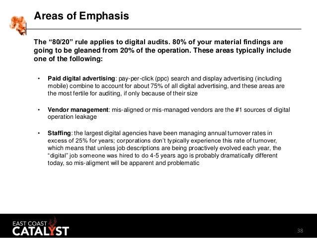 """38 Areas of Emphasis The """"80/20"""" rule applies to digital audits. 80% of your material findings are going to be gleaned fro..."""