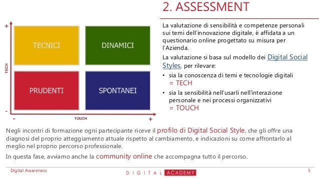 La valutazione di sensibilità e competenze personali sui temi dell'innovazione digitale, è affidata a un questionario onli...