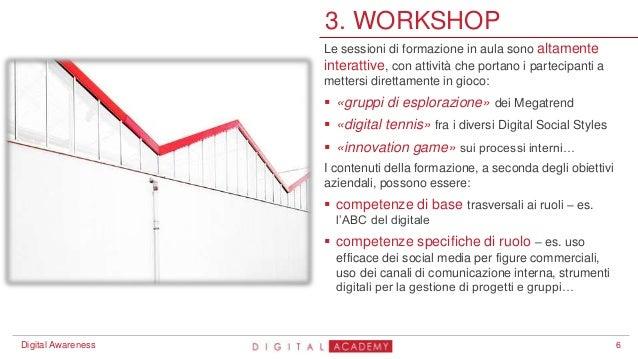 6 3. WORKSHOP Digital Awareness Le sessioni di formazione in aula sono altamente interattive, con attività che portano i p...