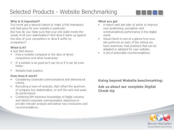 Selected Products - Website Benchmarking <ul><li>Why is it important? </li></ul><ul><li>You never get a second chance to m...