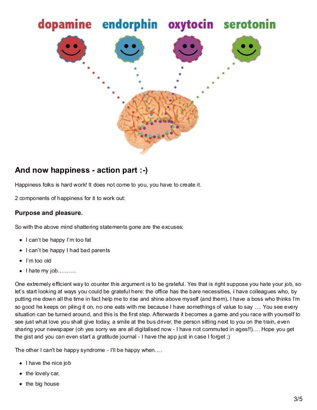 And now happiness - action part :-) Happiness folks is hard work! It does not come to you, you have to create it. 2 compon...