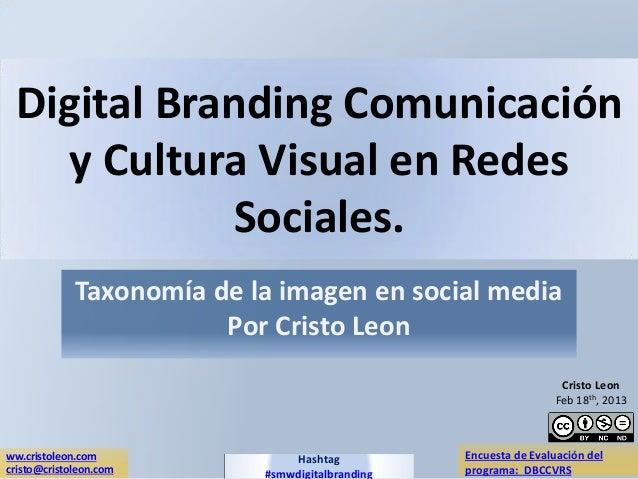 Digital Branding Comunicación    y Cultura Visual en Redes             Sociales.             Taxonomía de la imagen en soc...