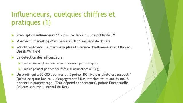 Influenceurs, quelques chiffres et pratiques (1)  Prescription influenceurs 11 x plus rentable qu'une publicité TV  Marc...