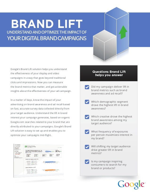 Google's Brand Lift solution helps you understand the effectiveness of your display and video campaigns in a way that goes...