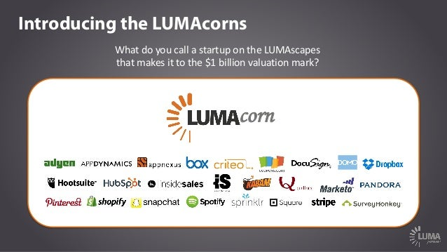 Introducing the LUMAcorns corn What	do	you	call	a	startup	on	the	LUMAscapes	 that	makes	it	to	the	$1	billion	valuation	mar...