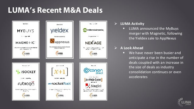 LUMA's Recent M&A Deals Ø LUMAActivity § LUMAannouncedtheMyBuys mergerwithMagnetic,following theYieldex saletoA...