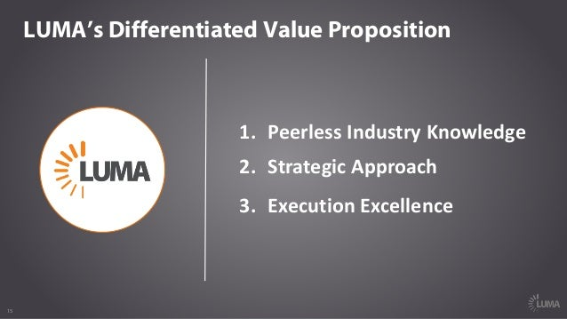 15 LUMA's Differentiated Value Proposition 1. PeerlessIndustryKnowledge 2. StrategicApproach 3. ExecutionExcellence