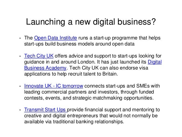 Launching a new digital business? • The Open Data Institute runs a start-up programme that helps start-ups build business ...