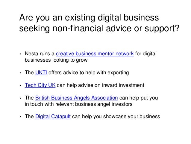 Are you an existing digital business seeking non-financial advice or support? • Nesta runs a creative business mentor netw...
