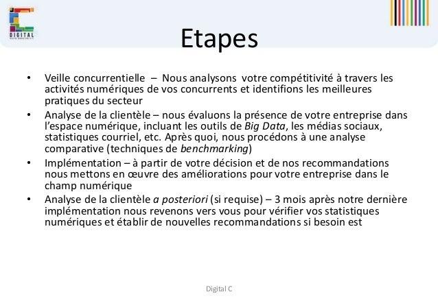 Digital C Etapes • Veille concurrentielle – Nous analysons votre compétitivité à travers les activités numériques de vos c...