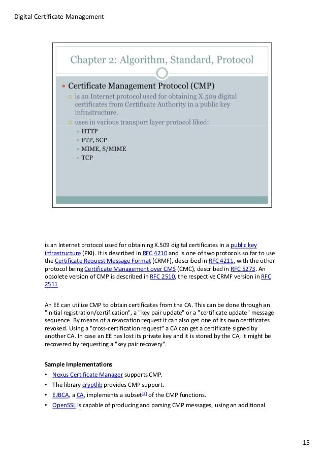 Digital certificate management v1 draft 14 23 is an internet protocol used for obtaining x509 digital certificates yelopaper Choice Image