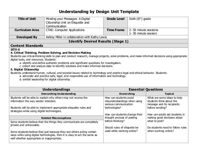 Backward Design Lesson Plan Template Examples