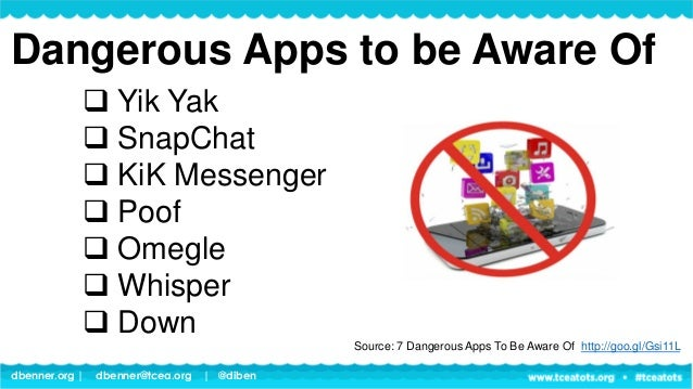 dbenner.org   dbenner@tcea.org   @diben Dangerous Apps to be Aware Of  Yik Yak  SnapChat  KiK Messenger  Poof  Omegle...