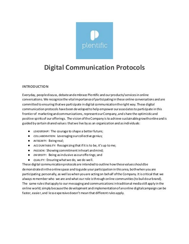 Digital communications protocol template for Protocol document template