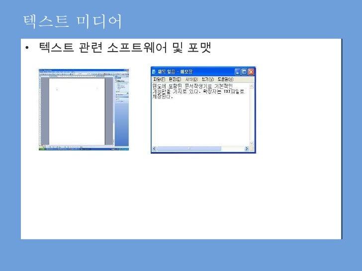 <ul><li>텍스트 관련 소프트웨어 및 포맷 </li></ul>텍스트 미디어