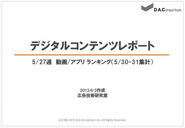 デジタルコンテンツレポート5/27週 動画/アプリ ランキング(5/30-31集計)(c)1996-2013 D.A.Consortium inc. All Rights Reserved.2013/6/3作成広告技術研究室