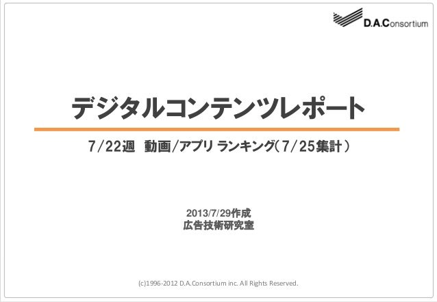 デジタルコンテンツレポート 7/22週 動画/アプリ ランキング(7/25集計) (c)1996-2012 D.A.Consortium inc. All Rights Reserved. 2013/7/29作成 広告技術研究室