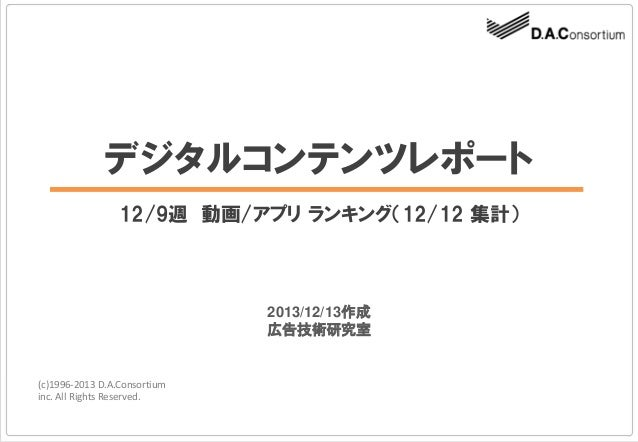 デジタルコンテンツレポート 12/9週 動画/アプリ ランキング(12/12 集計)  2013/12/13作成 広告技術研究室  (c)1996-2013 D.A.Consortium inc. All Rights Reserved.