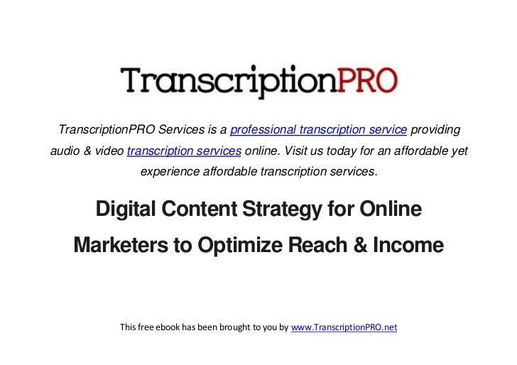 TranscriptionPRO Services is a professional transcription service providingaudio & video transcription services online. Vi...