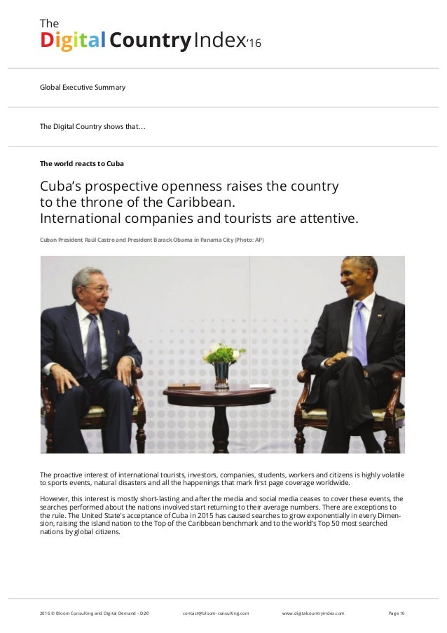 The world reacts to Cuba Cuba's prospective openness raises the country to the throne of the Caribbean. International comp...
