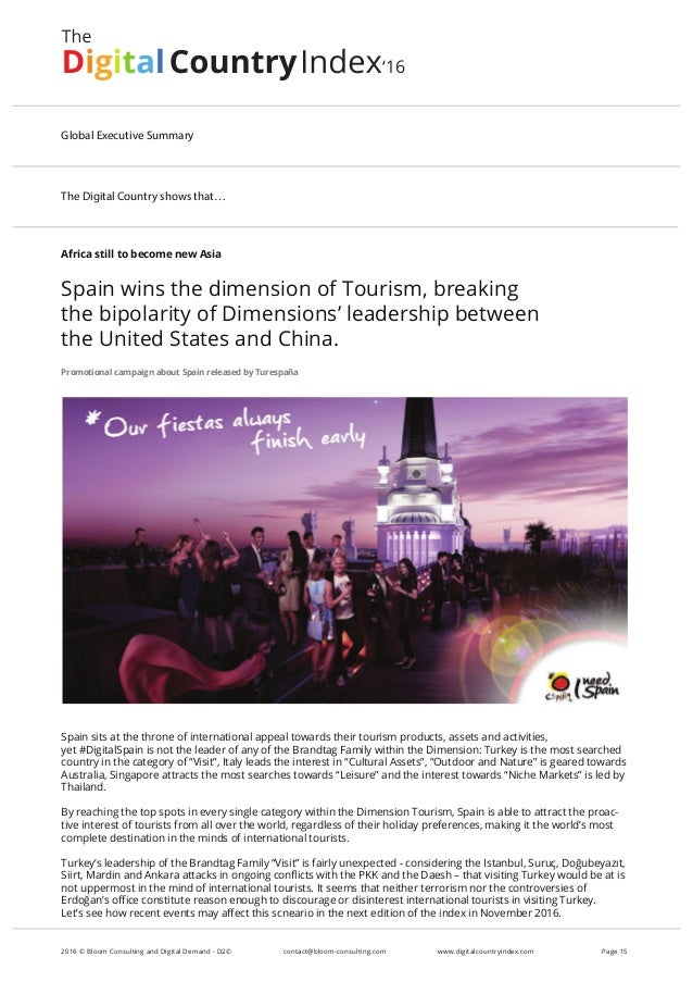 Africa still to become new Asia Spain wins the dimension of Tourism, breaking the bipolarity of Dimensions' leadership bet...
