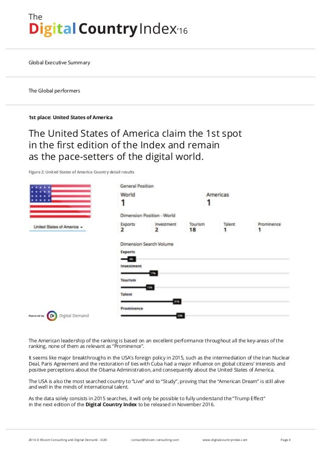 1st place: United States of America The United States of America claim the 1st spot in the first edition of the Index and r...