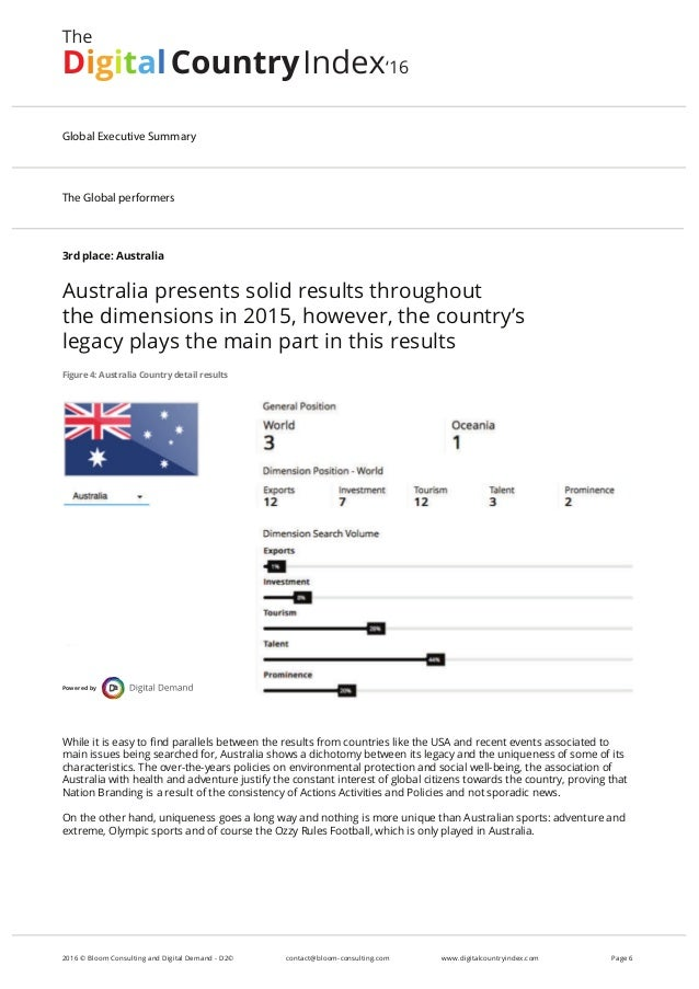 3rd place: Australia Australia presents solid results throughout the dimensions in 2015, however, the country's legacy pla...