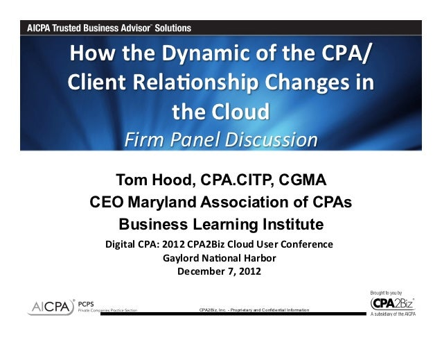 How the Dynamic of the CPA/Client Rela6onship Changes in                the Cloud             Fi...
