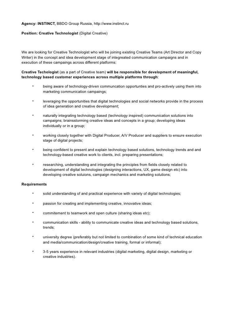 Agency: INSTINCT, BBDO Group Russia, http://www.instinct.ru  Position: Creative Technologist (Digital Creative)     We are...