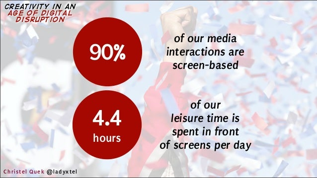 90% of our media interactions are screen-based 4.4 hours of our leisure time is spent in front of screens per day Christel...