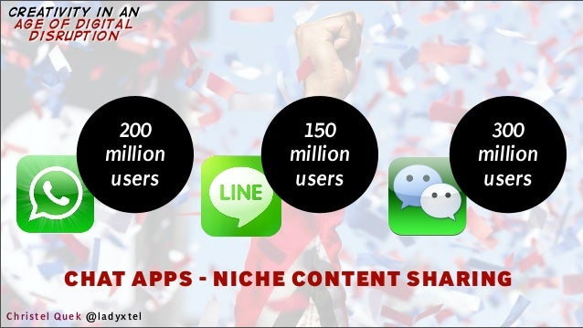 CHAT APPS - NICHE CONTENT SHARING 150 million users 300 million users 200 million users Christel Quek @ladyxtel creativity...