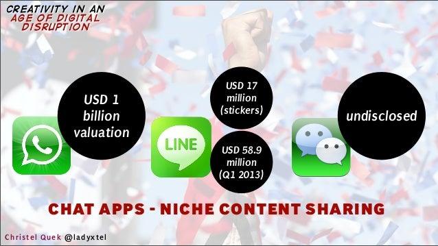 CHAT APPS - NICHE CONTENT SHARING USD 17 million (stickers) undisclosed USD 1 billion valuation USD 58.9 million (Q1 2013)...